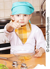 cuisinier, sérieux, pointage, index