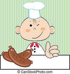 cuisinier, sausages.