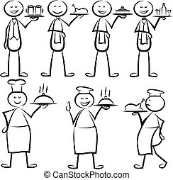 cuisinier, serveur, stickman, chef cuistot