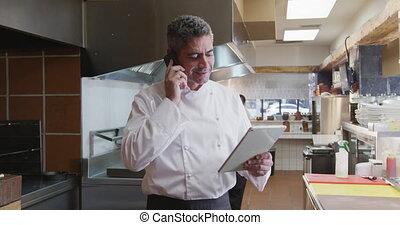 cuisinier, téléphone, conversation