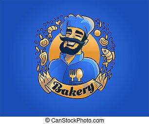 cuisinier, vecteur, illustration., fonctionnement