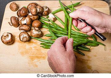 cuisinier, vert, découpage, haricots, cuisine