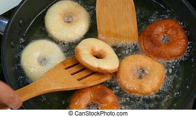 cuisinier, virages, oil., beignets