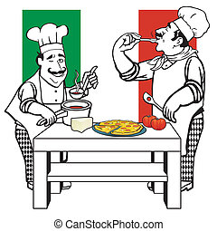 cuisiniers, deux, italien