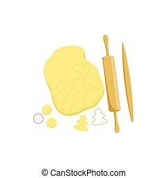 cuisson, épingle, équipement, processus, isolé, article, pâte, rouler, cuisine