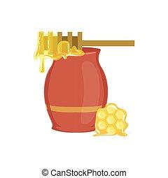 cuisson, équipement, processus, pot, isolé, miel, article, cuisine