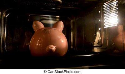 cuisson, argent poche, argent, microwave., porcin, appareils, banque