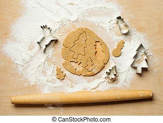 cuisson, cookies., sommet, fond, année, nouveau, vue