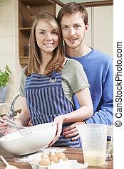 cuisson, couple, jeune, ensemble, portrait, cuisine