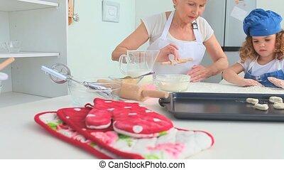 cuisson, elle, ensemble, grand-mère, grande fille