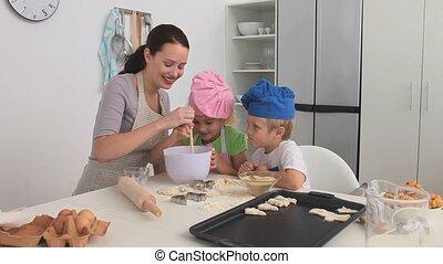 cuisson, enfants, elle, mère