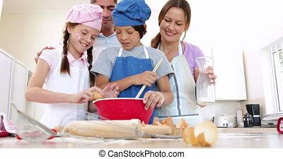 cuisson, famille, ensemble, heureux