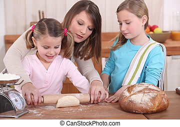 cuisson, filles, mère