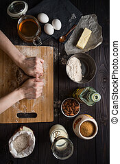 cuisson, pétrissage, pâte, au-dessus, ingrédients, vue