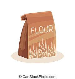 cuisson, paquet, cuisine, farine, sac papier, vecteur, illustration, fond, blanc, ingrédient