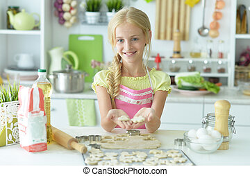 cuisson, portrait, cuisine, girl, jeune