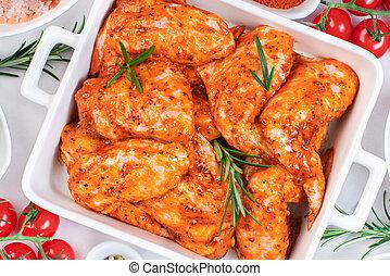 cuisson, spices., tomates, poulet, fait mariner, dishc, blanc, ailes