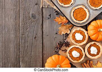cuisson, tartes, sur, scène, automne, bois, fond, frontière, côté, citrouille