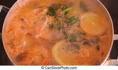 cuit, épices, citron, casserole, crevettes