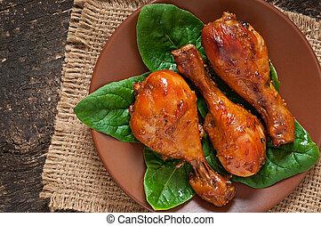 cuit, baguettes poulet