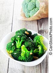 cuit, blanc, bol, végétariens, brocoli