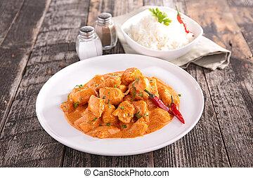 cuit, curry poulet, sauce