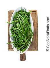 cuit, fraîchement, haricots, isolé, blanc vert