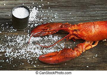 cuit, homard, bois, sel, grossier