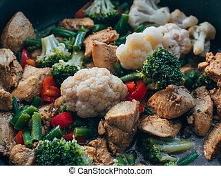 cuit, légumes, poulet, moule
