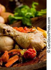 cuit, poulet, légumes