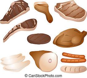cuit, viande, illustration