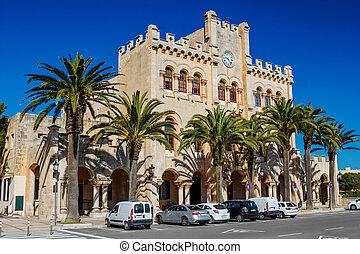CUITADLLA DE MENORCA - JUNE 4: Ayuntamiento de Ciutadella building in the center of old town on June 4, 2013 in Cuitadella, Menorca, Spain. The town council building at Plaza Des Born.