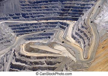 cuivre, gros plan, excavation, ouvert, mine, kennecott, fosse, bingham