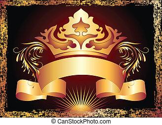 cuivre, ornement, couronne, luxueux
