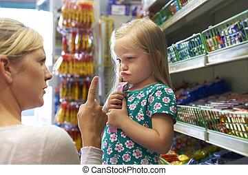 cukierek, arguement, kantor, dziecko, posiadanie, macierz