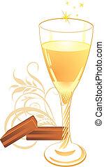 cukorkák, pohár, pezsgő