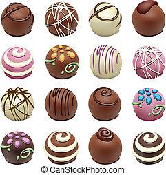 cukorkák, vektor, csokoládé