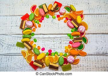 cukorka, és, süti, alatt, a, forma, közül, egy, karika