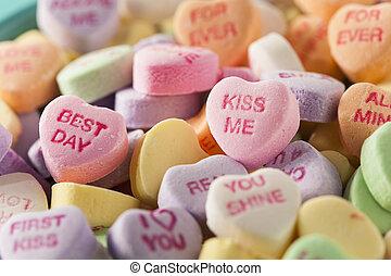 cukorka, beszélgetés, piros, helyett, valentin nap