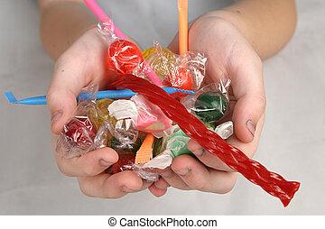 cukorka, kézbesít