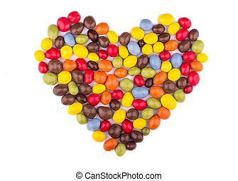 cukorka, színezett, üvegmáz, alatt, a, alakít, közül, szív, mint, egy, jelkép szeret