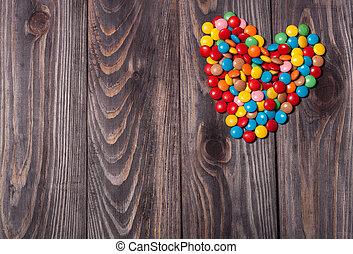 cukorka szív, képben látható, erdő, valentines nap, háttér