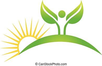 cuktivated, planta, em, natureza, logo., vetorial, projeto gráfico