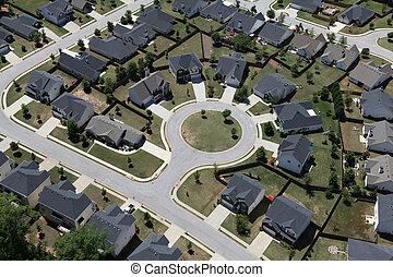 Cul-de-sac Aerial Suburb - Suburban culdesac homes aerial in...