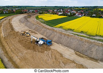 culbuteur, chargement, aérien, excavateur, sable, bourdon, truck., vue