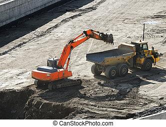culbuteur, chargement, excavateur, site, sandpit, construction, camion, dumper, autoroute