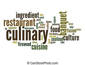 culinário, palavra, nuvem