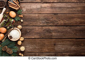 culinair, bakken, kerstmis, achtergrond