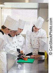 culinair, scholieren, groentes, kotelet, hoe, leren
