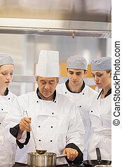 culinaire, faire, classe, apprentissage, soupe